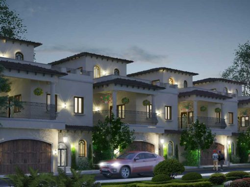 Villa Architecture Design -Spanish Style Twin Houses – Coimbatore