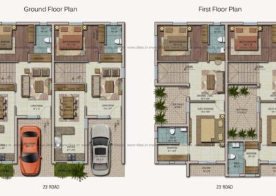 Villa-Architecture-Design-in-Coimbatore---Spanish-Style-Twin-Houses--dlea-Twin-house-Plan-Rendering
