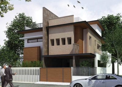 Residential-Design--Selvakumar--Residence--Front-View-with-compound--by-DLEA